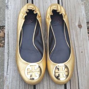 Tory Burch Reva Gold Ballet Flats - size 8